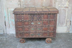 20 19th Century Dowry Chest on wheels with fine iron & brass work